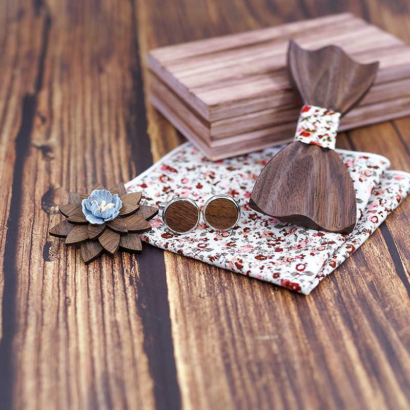 3d 木製のための男性のネクタイ木材ボウタイ手作り蝶黒クルミ木製 Gravata ギフトカフスボタンハンカチ