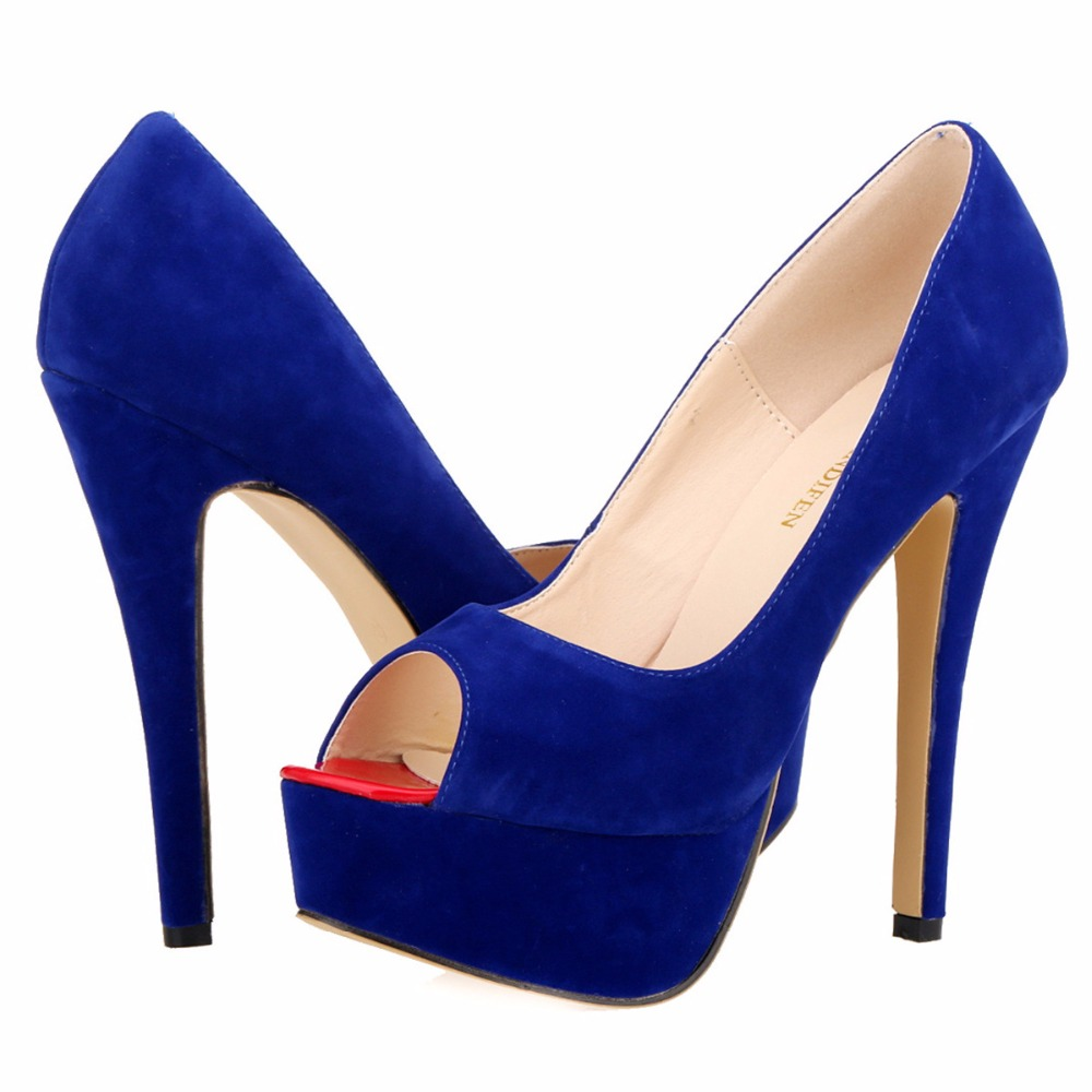 Womens Pumps Flock Suede Wedges Platform Stiletto Red Bottom High Heels Open Toe Sexy Party Shoes Customize Sole Color 817-16