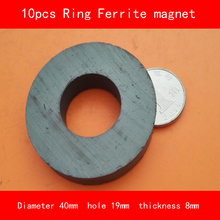 10PCS outer diameter 40mm hole 19mm thickness 8mm work temperature -40 to +220 Celsius permanent ring ferrite magnet
