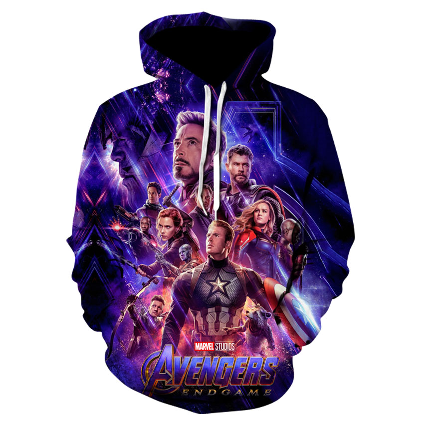 Stylish new 3d-printed avenger 4 printed hoodies, casual hoodies for men and women in spring and summer