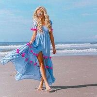 Boho Vintage Patchwork Women Maxi Dress Summer 2019 3D Decoration Elastic Big Hem Dresses Retro Chic Loose Vacation Beach Dress