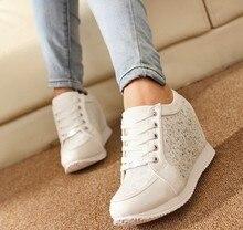 Frauen Schuhe Versteckten Fersen Keil schuhe Mode frauen kausalen Frauen Strass Schuhe 5A103