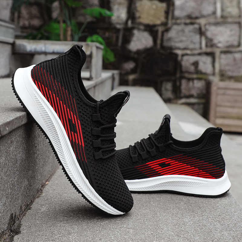 Brand Adult Jogging Shoes Men Casual Shoes Male Sneakers Flats Mesh  Loafers Fly Knit Sports Breathable Spring Autumn Trainers