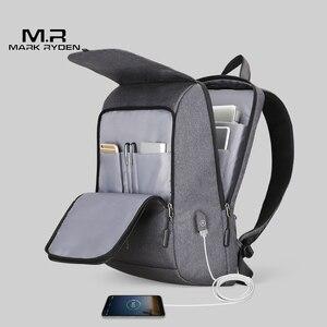 Image 4 - Mark Ryden adam sırt çantası USB şarj 15.6 inç dizüstü okul çantası erkek için erkek seyahat Mochila su geçirmez