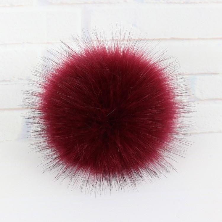 15cm Multicolor Raccoon Mink Fox Fur Ball 5 Colorful Fur Winter Pom Poms For Shoe Bag Hat Fur Cap Accessories with Snap