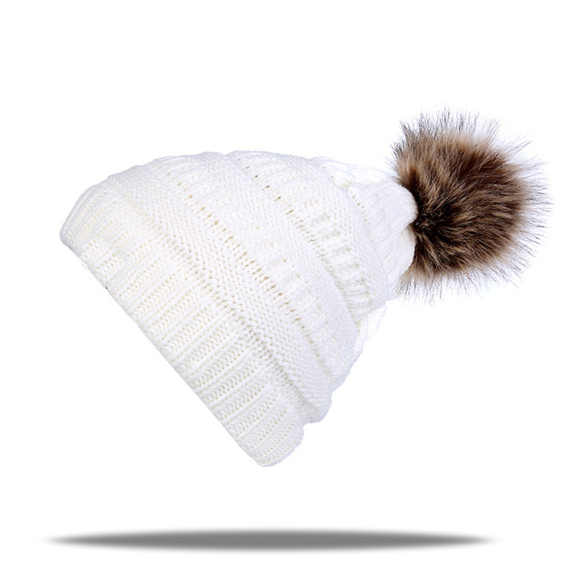 New brand cap Hot sale knitted beanie cap with thicker cashmere warm winter hats for women outdoor pom pop ski caps