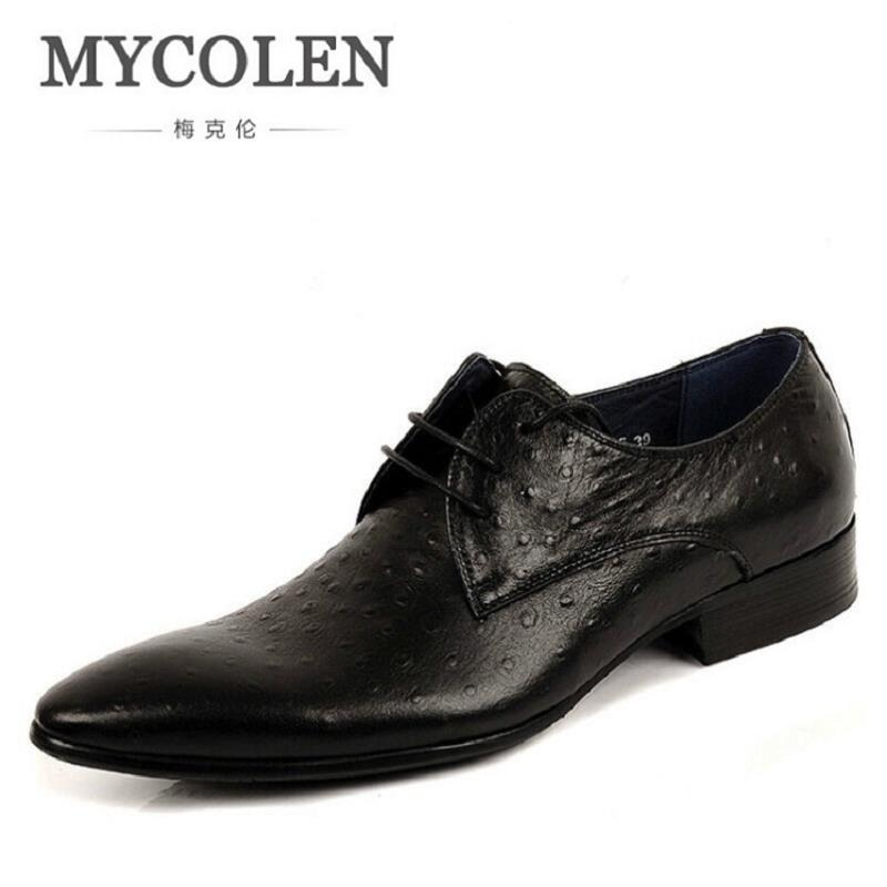 MYCOLEN Luxury Brand Genuine Leather Black Brown Men Dress Shoes Crocodile Italian Designer Mens Wedding Shoes Zapatos Hombre retro loft style iron droplight edison industrial vintage pendant light fixtures dining room home hanging lamp indoor lighting