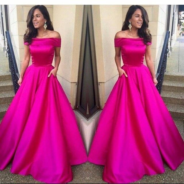 Hot fucsia Pink una línea vestido de fiesta fuera del hombro largo elegante  noche vestido de dac53d937c91