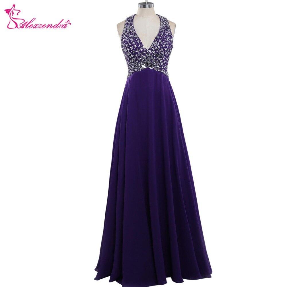 Alexzendra violet mousseline de soie longue perlée licou une ligne robes de bal cristaux Sexy robes de soirée robe de soirée