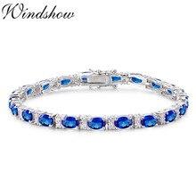 4a5a73c9a721 Plata de Ley 925 de racimo de plata Oval azul piedras tenis Pulseras para  las mujeres