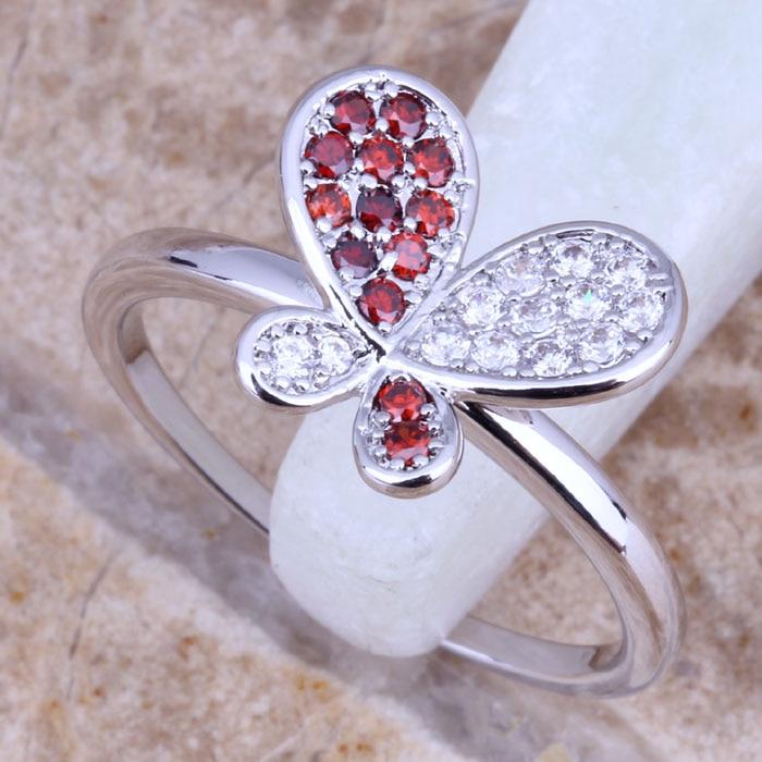 2152b3991386 Brillante rojo granate blanco CZ plata mujeres anillo mariposa tamaño  6 7 8 9 E543