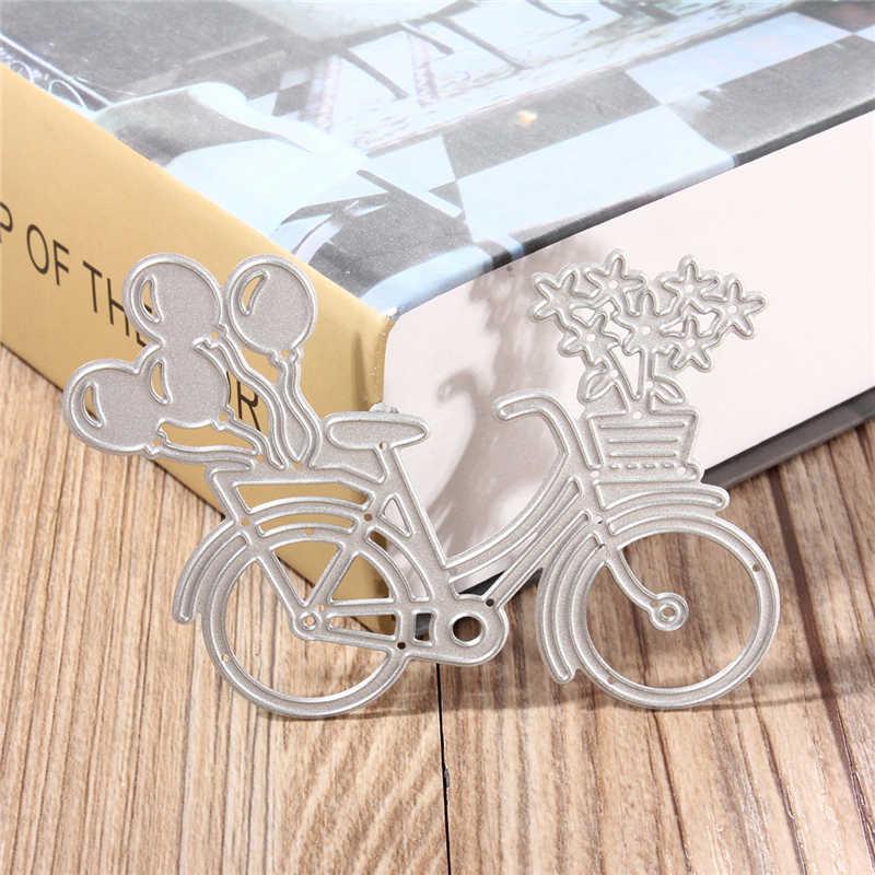 DIY น่ารักจักรยานจักรยานตัดโลหะตาย Stencil สำหรับ Scrapbooking การ์ดกระดาษอัลบั้มรูปหัตถกรรม Art ภาพวาดลายนูนตกแต่ง