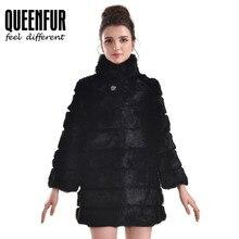 QUEENFUR Women Rabbit Fur Jacket Winter Real Rabbit Fur Coat Genuine Outwear Mandarin Collar Real Fur Garments Stand Collar