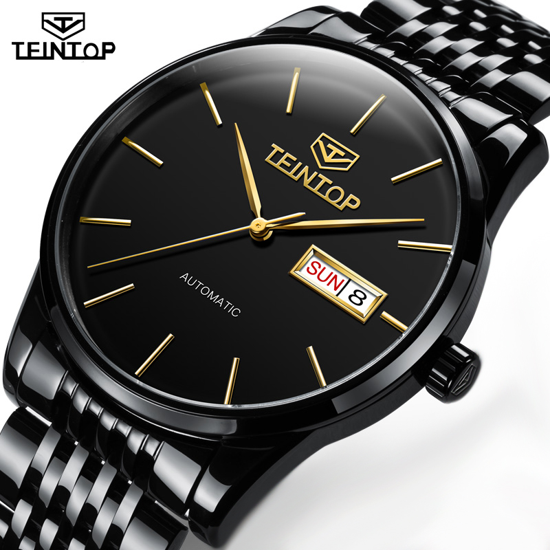 TEINTOP Luxury Men Classic Luxury Date Automatic Mechanical Watch Self-Winding Black Stainless Steel Strap Mens Wrist Watch nbw0he6767 men s stainless steel skeleton mechanical self winding analog wrist watch grey white
