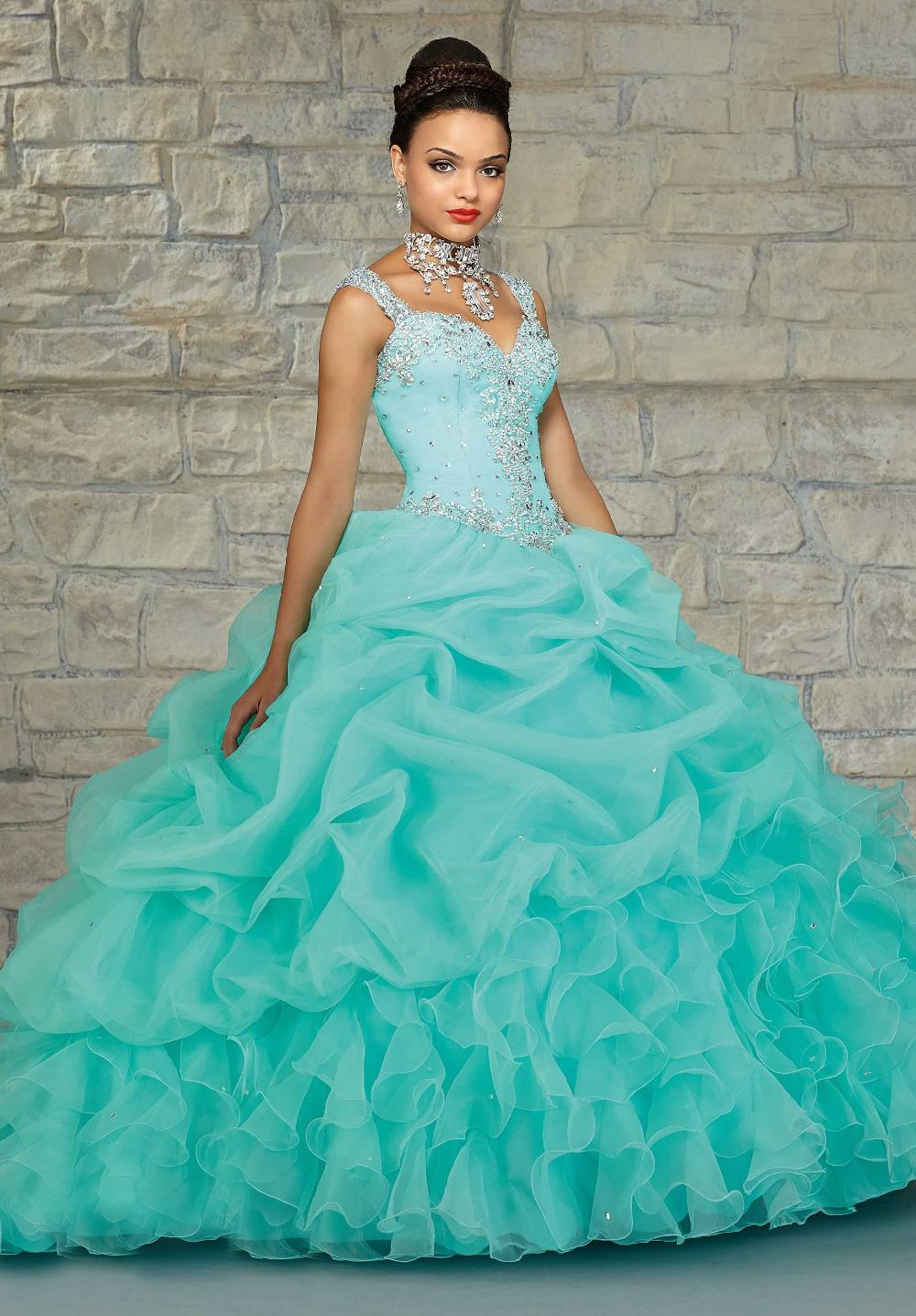 Buy Green mint with gold quinceanera dresses pictures trends