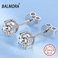 BALMORA 100% Pure 925 Sterling Silver Jewelry CZ Crystal Fashion Stud Earrings for Women Ladies Party Gifts Aretes JE120011