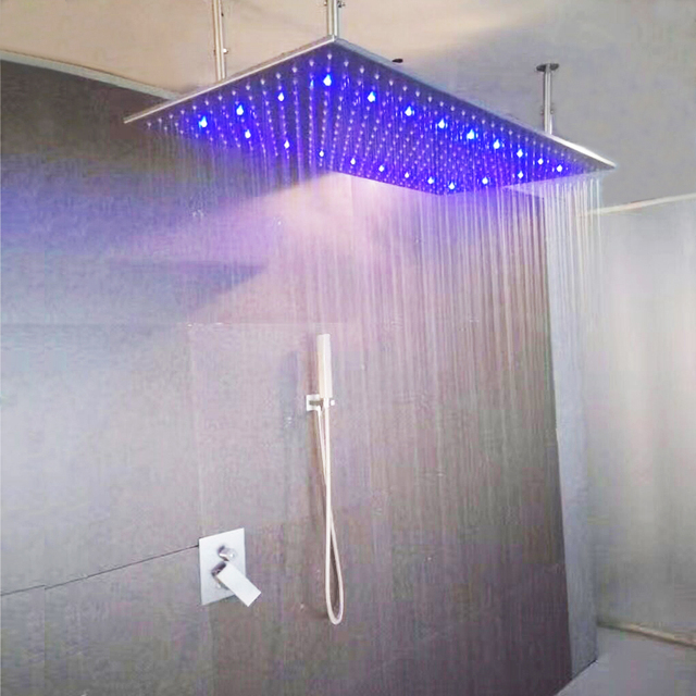 Rainfall LED Shower Faucet Set Contemporary  Bathroom Rain Shower Head 304 SUS Shower Mixer Brushed Hot Cold  With Hand Showers