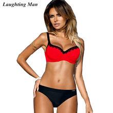 3527ead12c Laughting Man New 2018 Sexy Lace Patchwork Bikinis Set Beachwear Women  Swimwear Female Swimsuit Biquinis Bathting