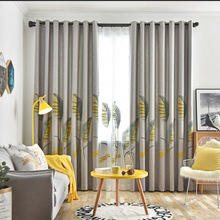 Modern pastoral Cotton Linen Embroidery Curtain For Living Room  Leaves curtains for bedroom Tulle Kitchen Sheer