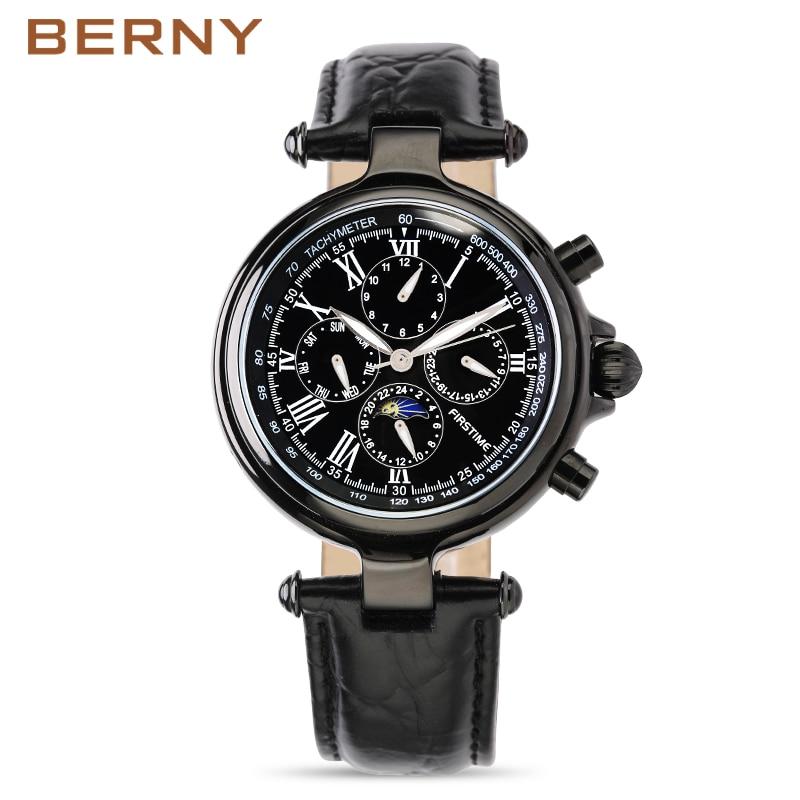 Célèbre marque en acier inoxydable montre de luxe hommes montre automatique montres mécaniques Phase de lune montres mécaniques cadeau de noël - 3