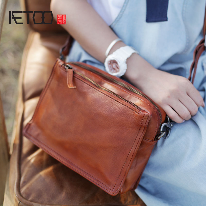 AETOO Literary retro handmade cowhide diagonal shoulder bag summer new women's bag tide leather multi-layer zipper small square aetoo spring and summer new leather handmade handmade first layer of planted tanned leather retro bag backpack bag