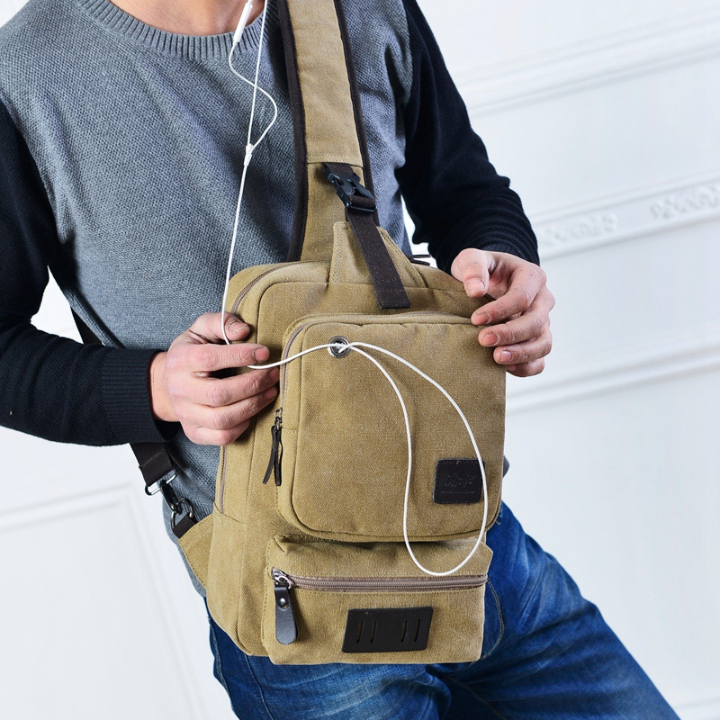 Hot Sale Small Men Travel Casual Sling Messenger Chest Bags  Men Canvas Bag Chest Pack Canvas Crossbody Sling Bag for iPad Phone men canvas small sling chest pack handbag vintage shoulder crossbody bag function small men messenger bags grey 19 8 25 cm