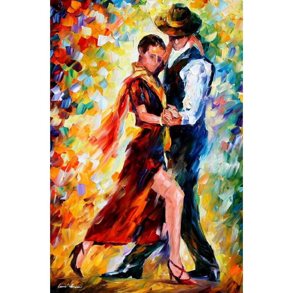 Figure Oil painting pictures romantic tango palette knife canvas wall art modern home decor