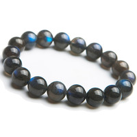 Genuine Natural Labradorite Rainbow Strong Blue Light Round Crystal Beads Women Man Fashion Bracelet 12mm