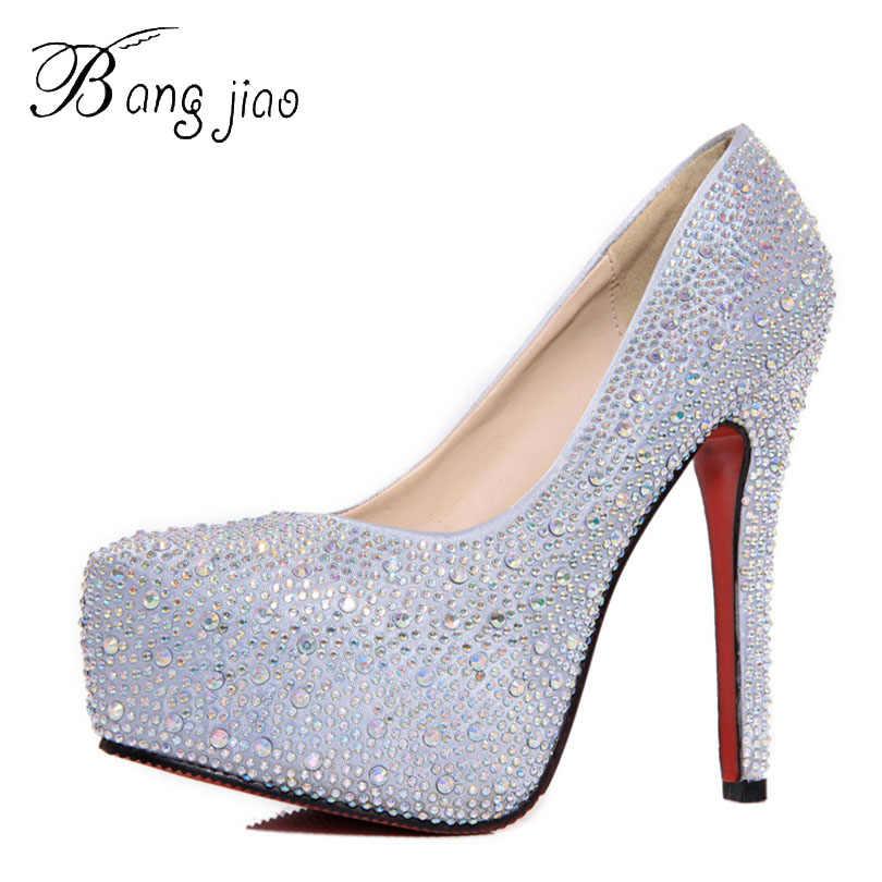 6dc743c9c0bc 2017 Women High Heels Prom Wedding Shoes Lady Crystal Platforms Silver  Glitter Rhinestone Bridal Shoes Thin