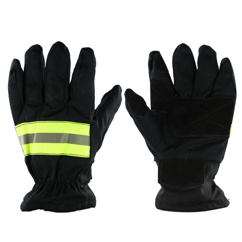 Fireman Gloves Wear-resistance Non-slip Thicken Fire Proof Gloves Reflective Strap Fire Resistant Gloves For Firefighter