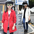 4-14 Years Girls Trench Coat Autumn 2017 Children Long Coat Kids Cotton Outerwear Jackets Teenage Girls Clothing Fashion Outwear