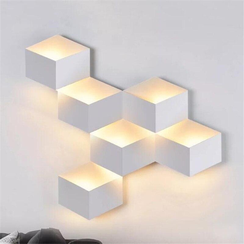 Moderne blanc/noir fer 3D géométrique Cube applique murale pour Foyer chambre TV fond décor Illuminare luminaire 2406