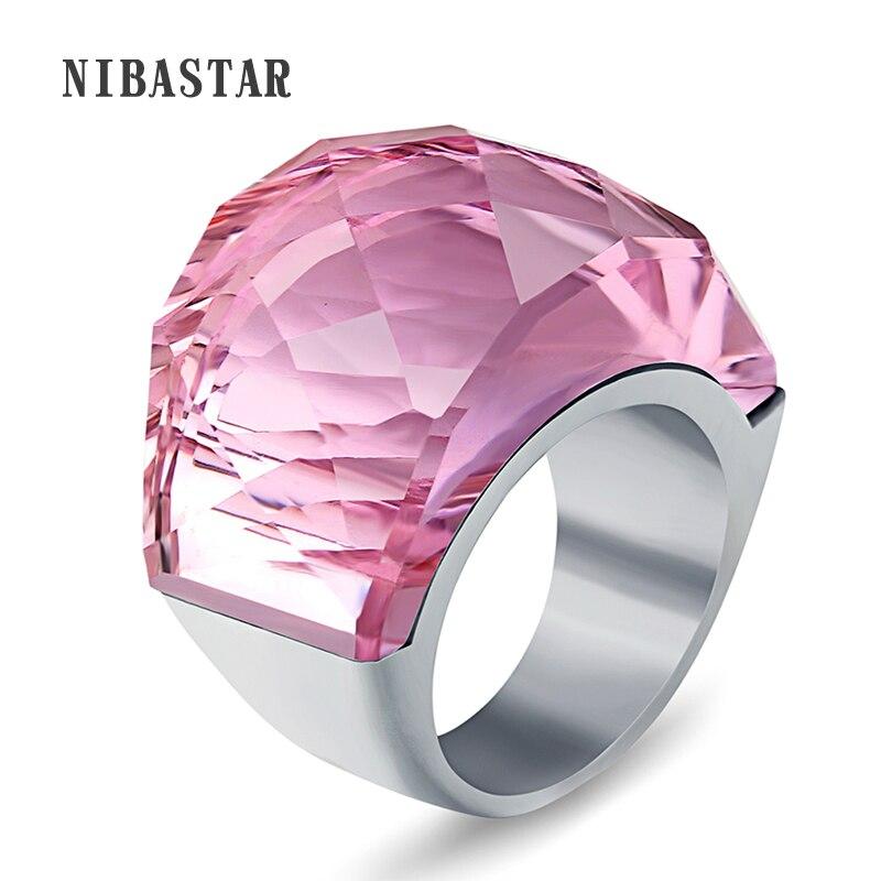 316L נירוסטה טבעות אירוסין גביש גדול אספקת תכשיטי חתונה לנשים
