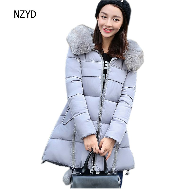 2017 Winter Women Coat New Fashion Hooded Thickening Super warm Medium long Jacket Long sleeve Loose Big yards Parkas LADIES208 2017 new winter fashion women down jacket hooded thickening super warm medium long coat long sleeve slim big yards parkas nz131