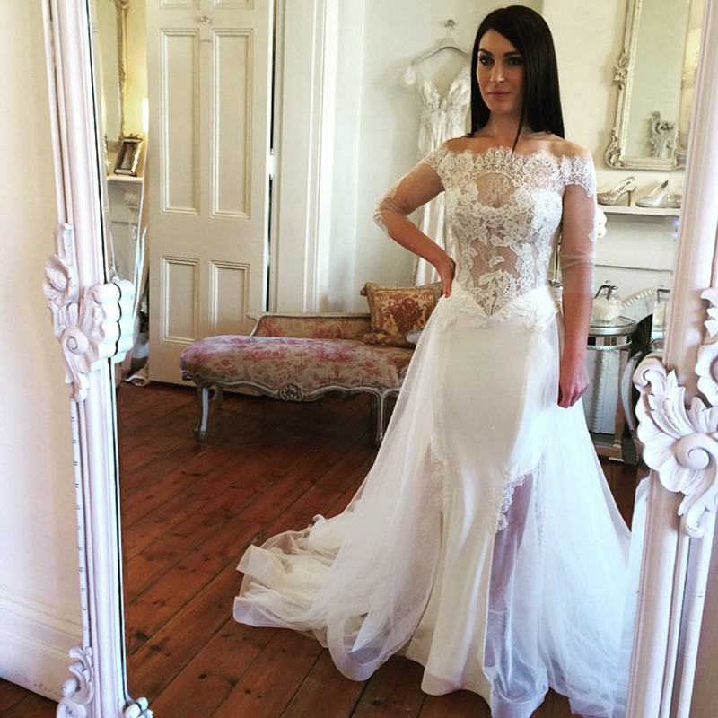 2019 See Through Lace Wedding Dresses Sweet Bateau Off the Shoulder 3/4 Sleeves wedding gown Vestido De Novia Para Casamento