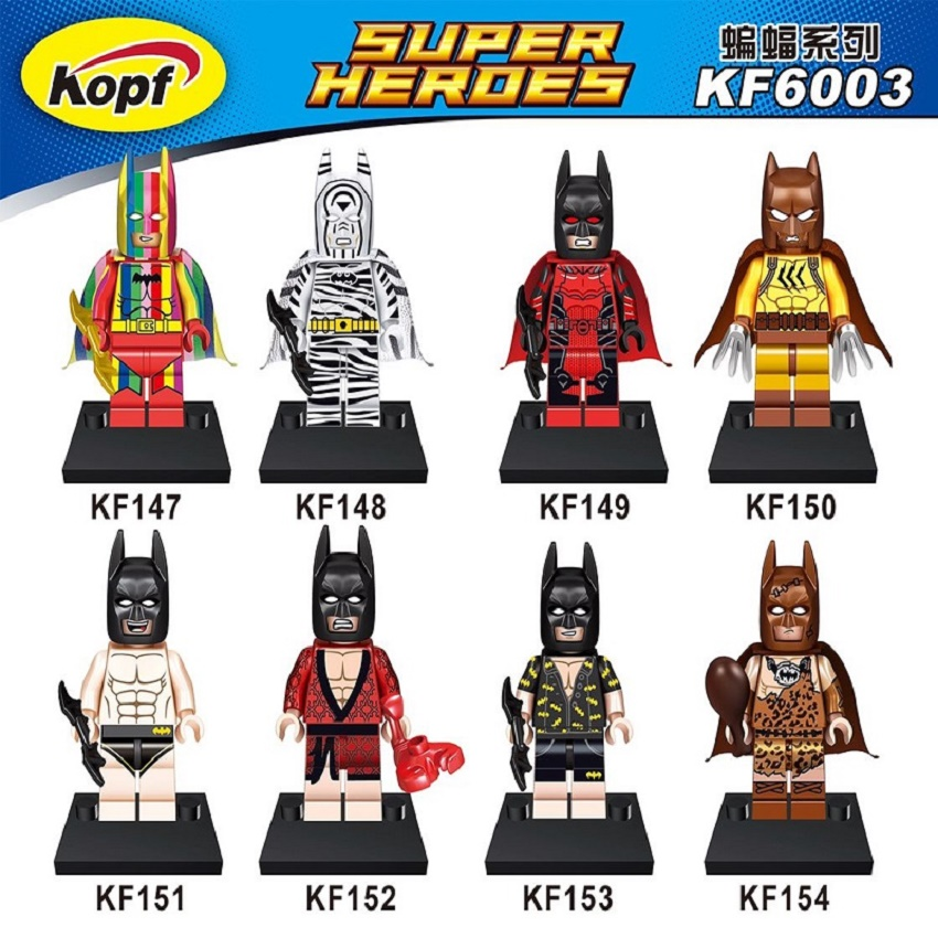 Super Heroes Rainbow Suit Zebra Clan Of The Cave Batman Catman Bricks Building Blocks Education Toys For Children Gift KF6003