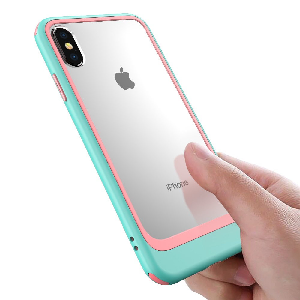 Case For IPhone XS Max XR XS X Hit Color 2 In 1 Combo Acrylic TPU Clear Armor Protection Case For IPhone 7 8 7 Plus 8 Plus Coque