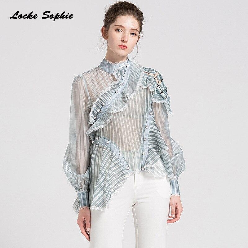 1 pièces dames chemisiers grande taille hauts 2019 été organza maille creux col roulé apprêt chemises femmes Skinny rétro Sexy blouses