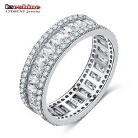 LZESHINE 100 925 Sterling Silver Women Rings With Paved Clear Sparking CZ For Engagement Wedding Party