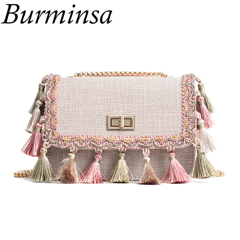 310abe8d855e Burminsa Boho Fringe Crossbody Bags Women Mini Cloth Chain Shoulder Bags  Ethnic Canvas Female Purse Summer Girls Messenger Bags-in Shoulder Bags  from ...