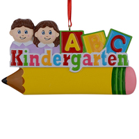 Smile Kindergarten Children Polyresin Glossy Personalized Christmas Tree Ornament With Yellow Pencil And A B C