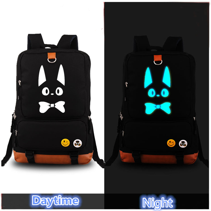 ФОТО 2017 Kiki's Delivery Service Black Cat Luminous Military Printing Backpack Canvas Women backpacks school bags for teenagers