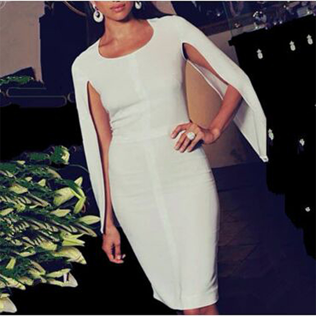 New Summer Bandage Dress Women Celebrity Party White Batwing Sleeve O-Neck Elegant Sexy Night Out Club Dress