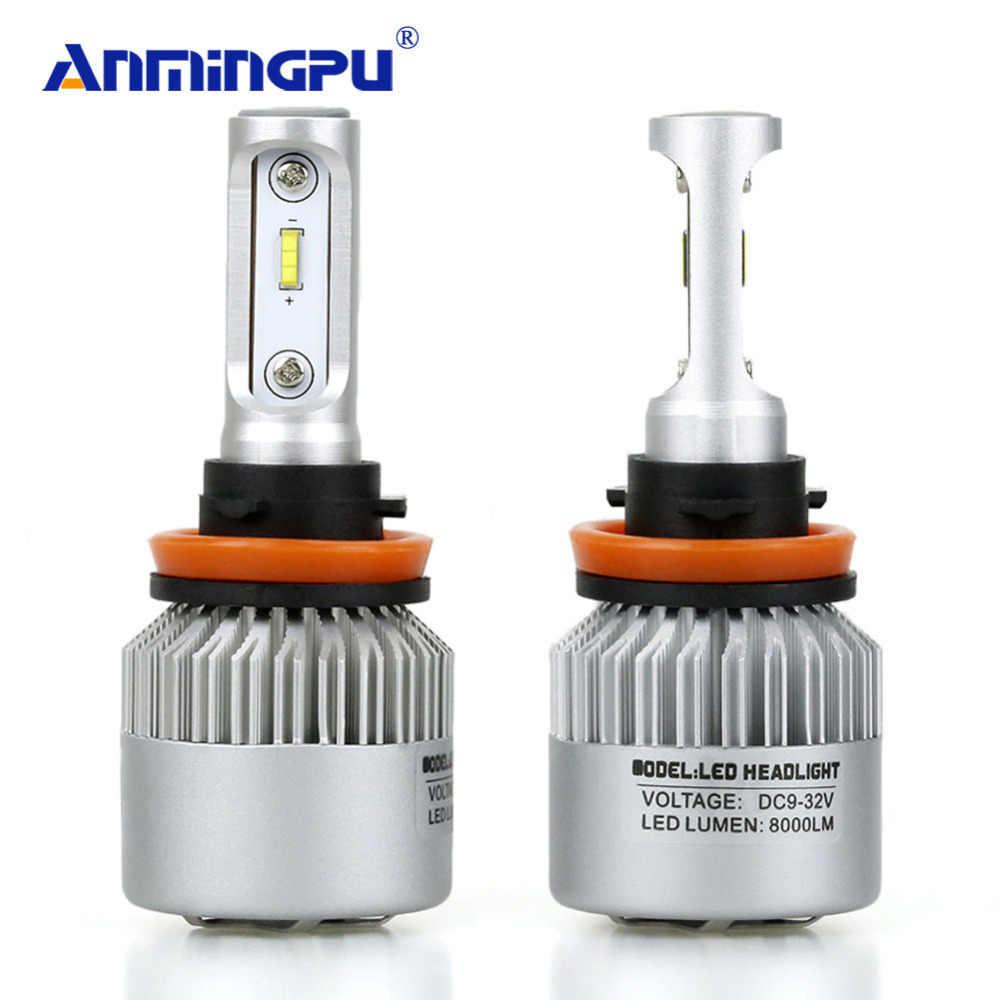 ANMINGPU 2x автомобиль лампы для передних фар 72 W фары для 16000LM/пара H11 светодиодные лампы H4 H7 светодиодные лампочки Canbus 9005 9006 H9 H11 СВЕТОДИОДНЫЕ Противотуманные фары лампы для передних автомобильных