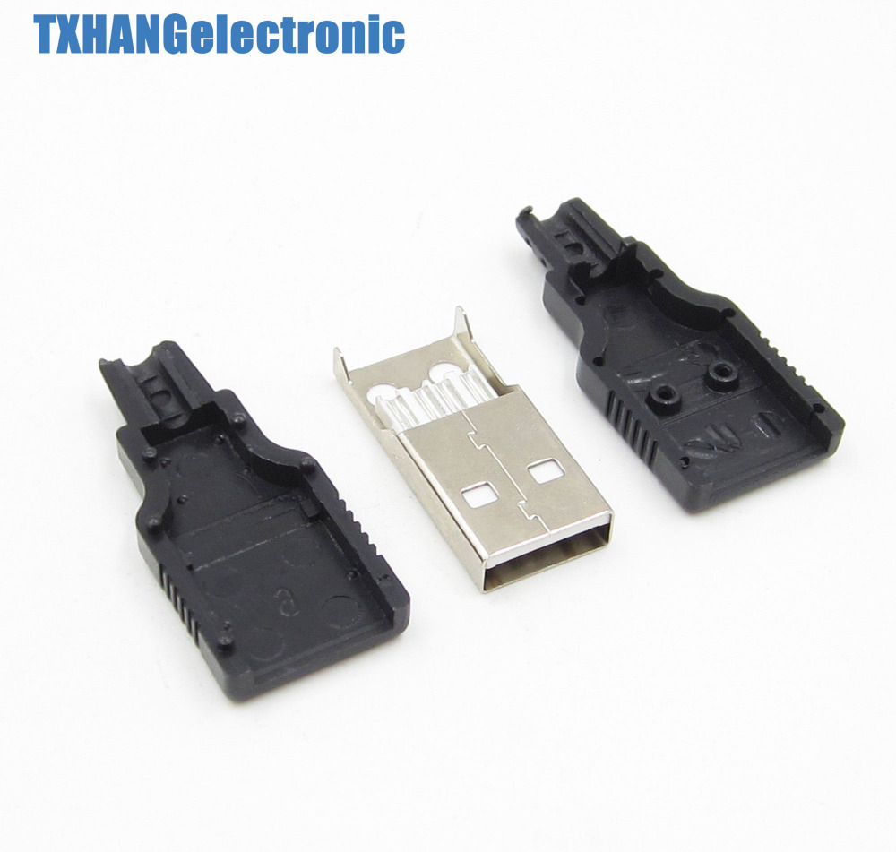 10PCS  USB2.0 Type-A Plug 4-pin Male Adapter Connector jack/&Black Plastic Cover