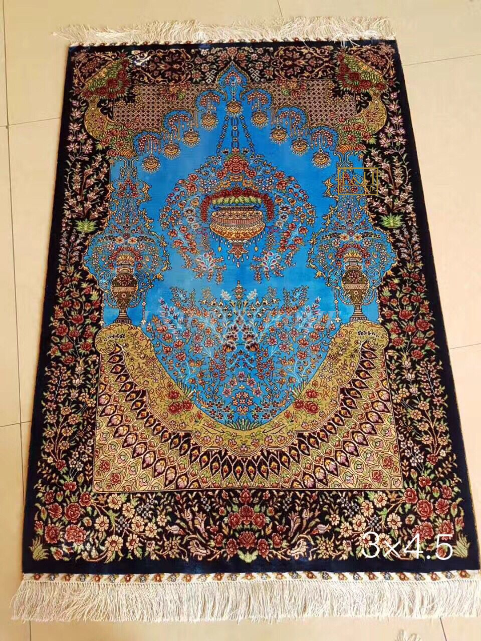 Free shipping 3X4.5 230 Line Handmade Silk Oriental Persian Rug hand Knotted silk carpet for home decorationFree shipping 3X4.5 230 Line Handmade Silk Oriental Persian Rug hand Knotted silk carpet for home decoration