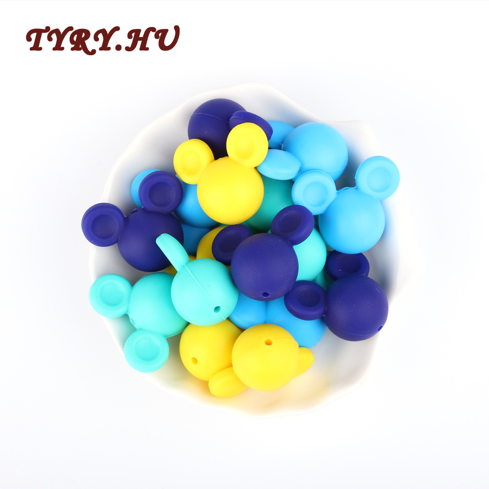 TYRY.HU 2pc Silicone Beads Teether Biter Beads Baby Teething Pendant Silicone Pacifier Clips BPA Free Teething Toys Mouse Shape цена 2017