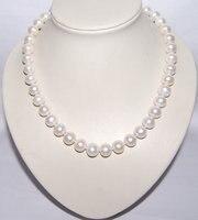 Классический А. А. 11 12 мм Большой рядом с круглым один жемчуга, белый Цвет пресноводный жемчуг Цепочки и ожерелья, невесты свадебный подарок