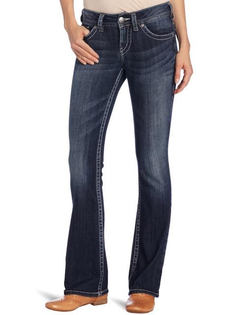 famosa marca ancha Original plata 100 mujer Jeans Denim Mujer pierna Bootcut Flared corte bota nYpwAq07