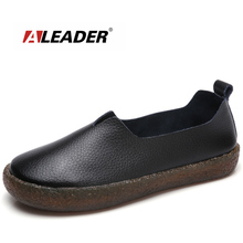 ALEADER New Fashion Womens Shoes Wide Women Casual Ballet Flats Slip On Leahter Shoes Ladies Comfortable Walking Loafers Large